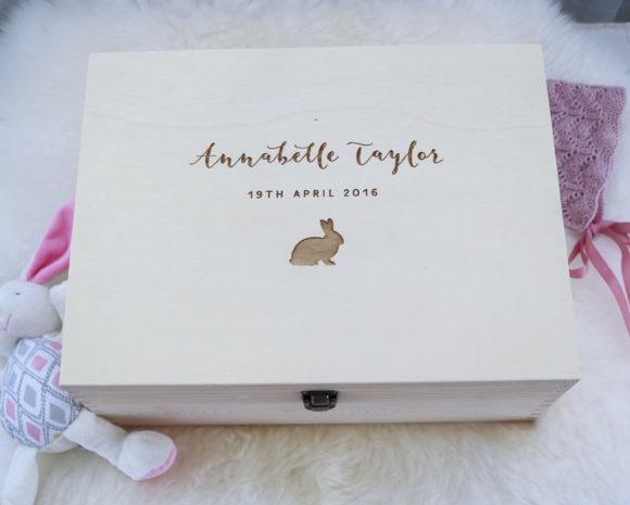 Personalised Wooden Baby Keepsake Gift Box