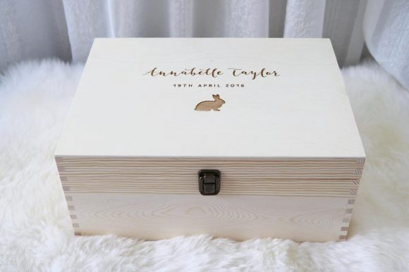 Personalised Wooden Baby Keepsake Gift Box